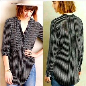 Anthro Maeve Mixed Media Pinstripe Blouse Top